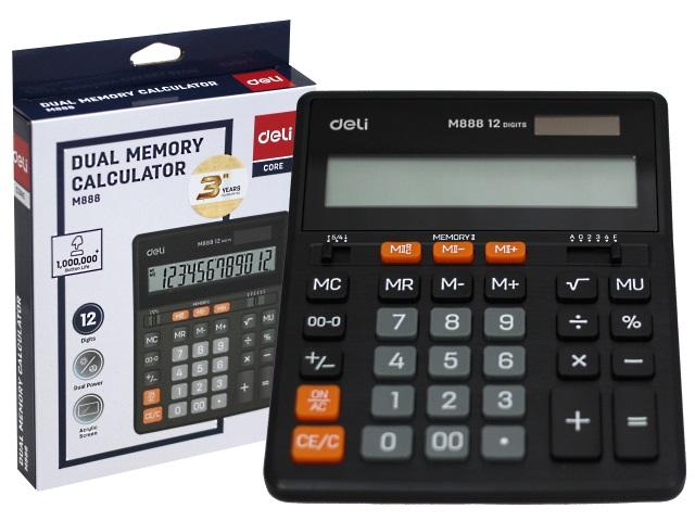 Калькулятор 12-разрядный Deli 15.5*20см черный M888
