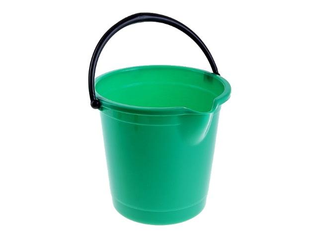 Ведро пластик 10л Чудо мерное со сливом пищевое зеленое MPG5552