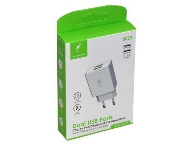 Зарядное устройство для USB SkyDolphin 5V 2.1А 2 порта SC30
