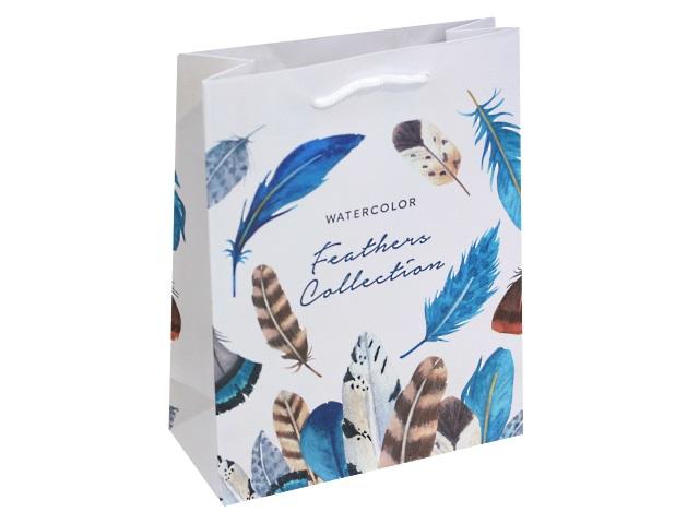 Пакет подарочный бумажный 18*23* 8см Акварельные перья Miland ППК-3182