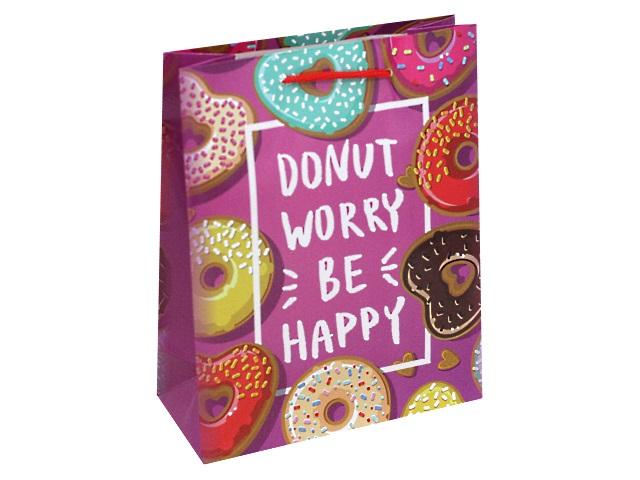 Пакет подарочный бумажный 18*23* 8см Пончики сердечки Miland ППК-3177