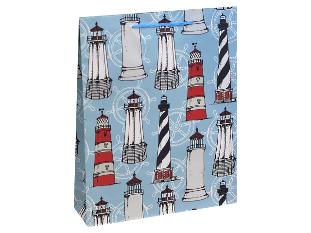 Пакет подарочный бумажный 26.4*32.7* 8см Miland Красивые маяки ППД-9867