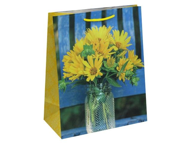 Пакет подарочный бумажный 26.4*32.7*13.6см Желтые цветочки в вазе Miland ПП-9113