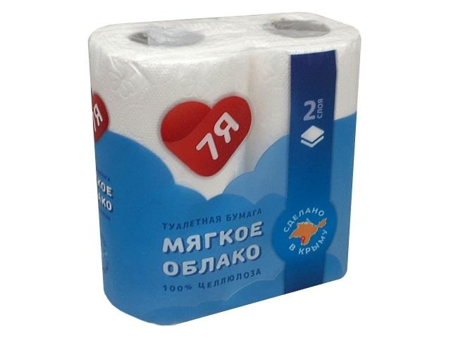 Бумага туалетная двухслойная 4 рулона 7Я Мягкое облако