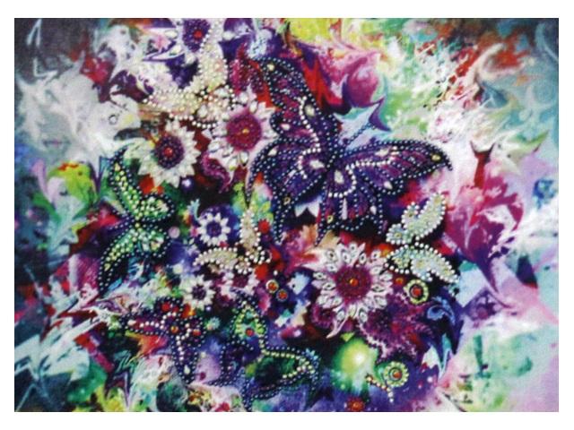 Алмазная мозаика 30*40см Mazari Бабочка и цветы M-10550