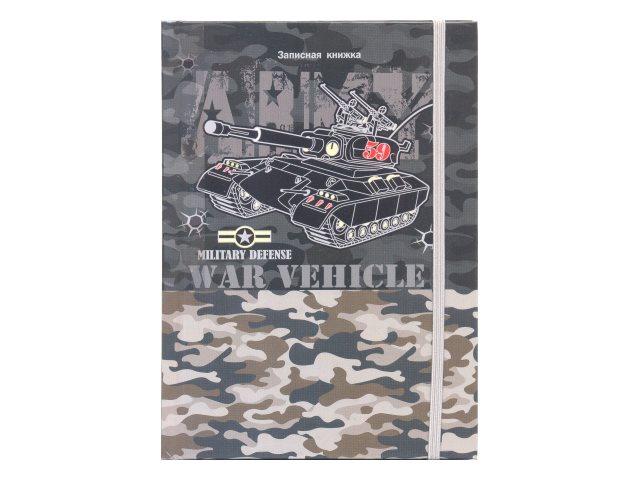 Записная книжка А5 Prof Press на резинке тв/переплёт 64л в точку Камуфляж и танк 64-0398