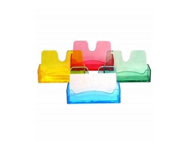 Подставка для визиток пластик Стамм Flowers тонированная цветная ВТ05
