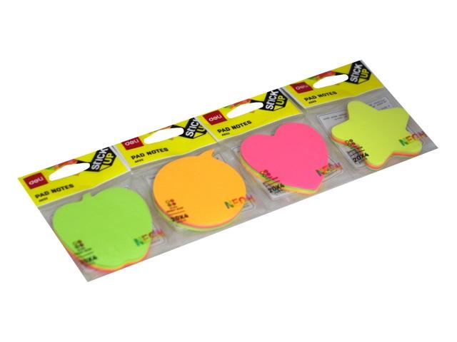 Стикер фигурный Deli 4 цвета по 20л неон EA03202