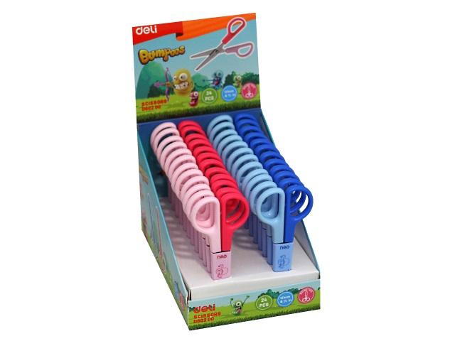 Ножницы детские 12 см Deli Bumpees пластиковые ручки в футляре ED60200