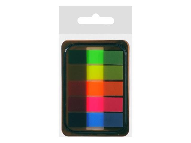 Стикер-закладка Mazari 44*12мм 5 цветов по 20л пластик неон М-4548