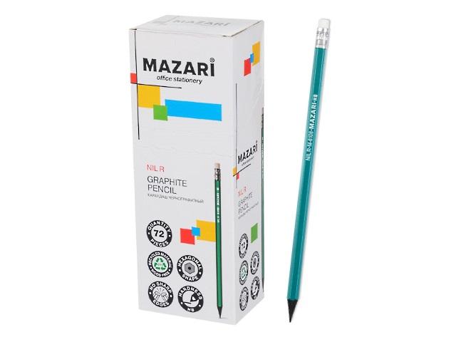 Карандаш HB Mazari Nil R пластик шестигранный с ластиком M-6108