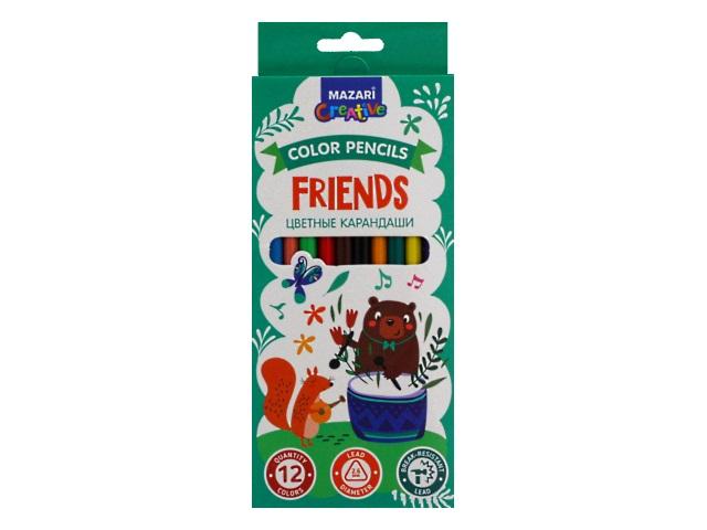 Карандаши цветные 12цв Mazari Friends пластик трехгранные M-6174-12