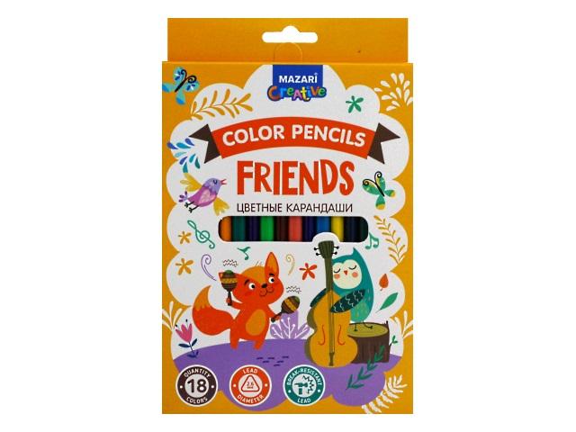 Карандаши цветные 18цв Mazari Friends пластик шестигранные M-6174-18