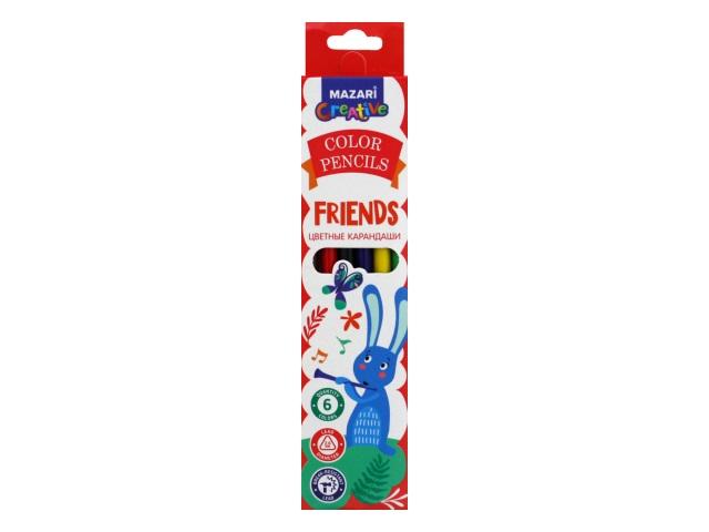 Карандаши цветные  6цв Mazari Friends пластик трехгранные M-6174-6