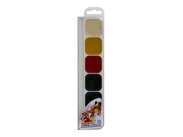 Краски  6 цветов акварель медовая Animals Park М-2050