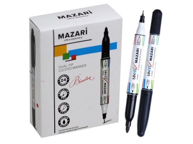 Маркер для дисков Mazari Binatex круглый черный двусторонний 0.5/2мм M-5010