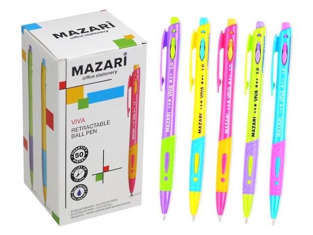 Ручка шариковая автомат Mazari Viva синяя 1мм M-7368-70