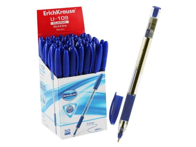 Ручка шариковая Erich Krause U-109 синяя 0.3мм трехгранная ЕК-47574