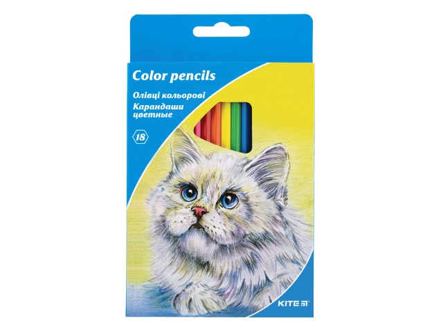 Карандаши цветные 18цв Kite Животные шестигранные K15-052