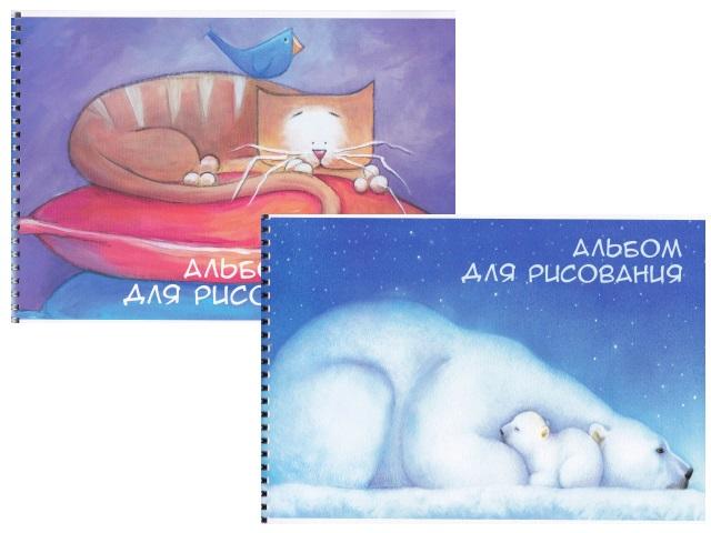 Альбом 24л А4 АХ спираль Jewel Белые медведи/Кот ЕАС-JW3-2