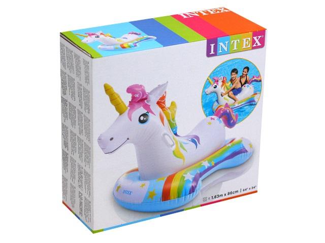 Игрушка-плот Intex 168*86см с держателями Единорог 57552