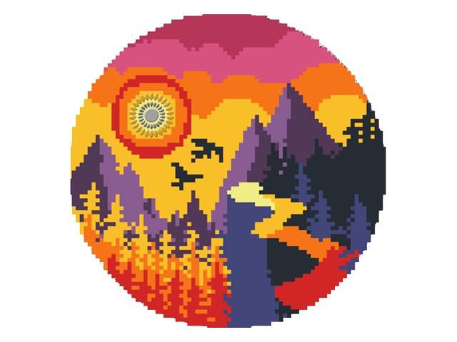 Алмазная мозаика круглая 24см Рыжий кот Закат YKH39