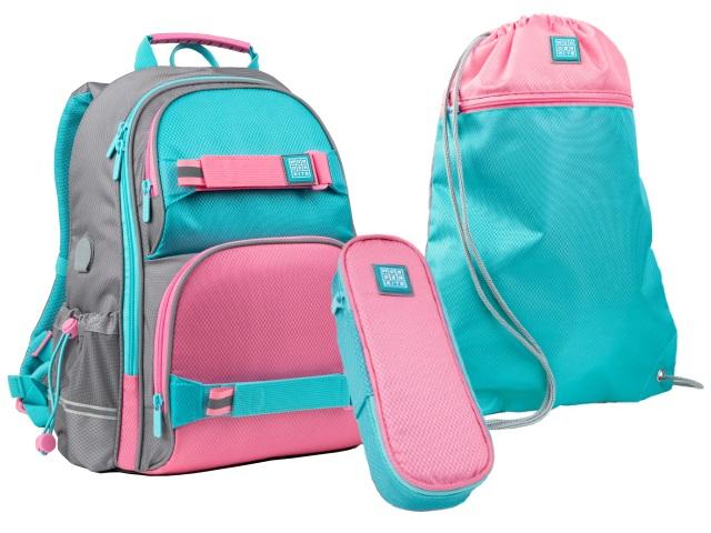 Ранец школьный Kite Wonder розово-бирюзовый + пенал + сумка для обуви SET_WK21-702M-1