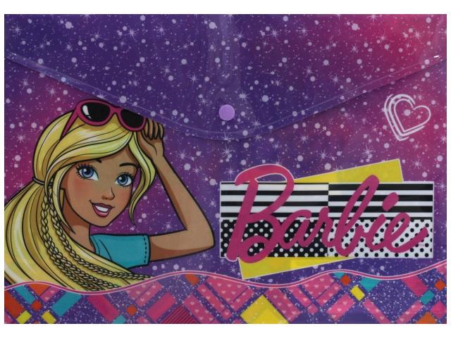 Папка конверт на кнопке А4 детская АХ Barbie BREB-US1-PLB-EN15