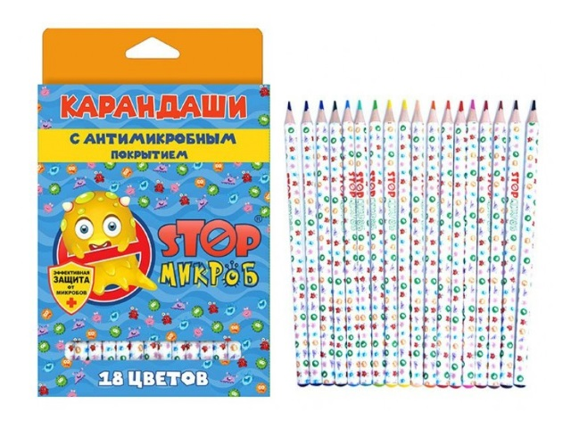 Карандаши цветные 18цв StopМикроб круглые 202-18