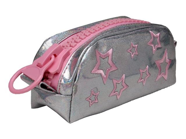 Пенал-косметичка Prof Press Розовые звезды серебро ПМ-6284