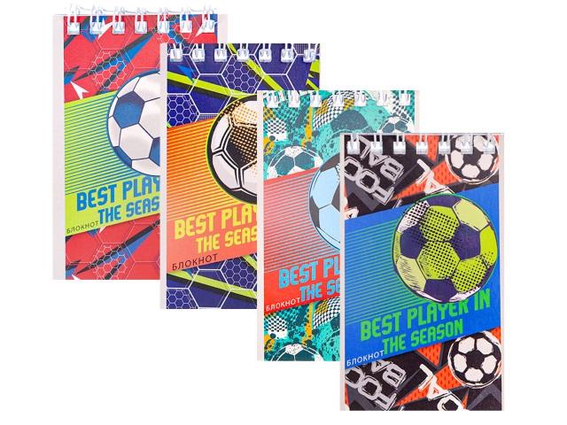 Блокнот А7 Profit спираль сверху м/обложка  40л Футбольная тема Б40-6055