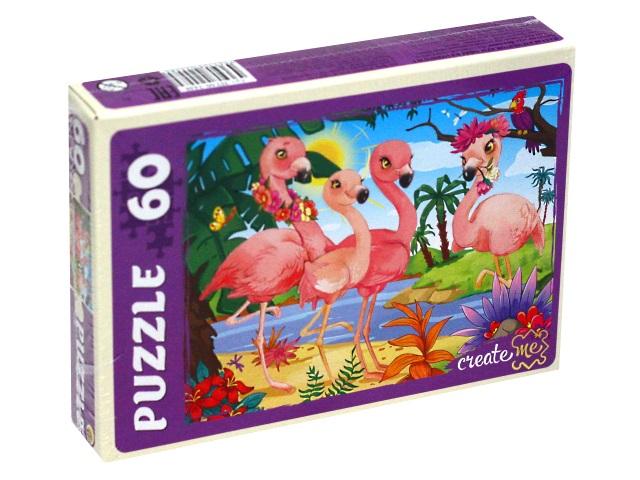 Пазлы   60 деталей Рыжий кот Красивые фламинго П60-2448
