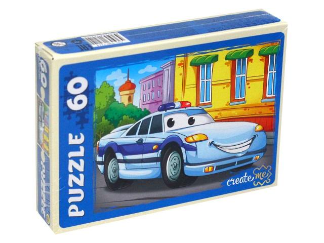 Пазлы   60 деталей Рыжий кот Полицейская машина У60-7214