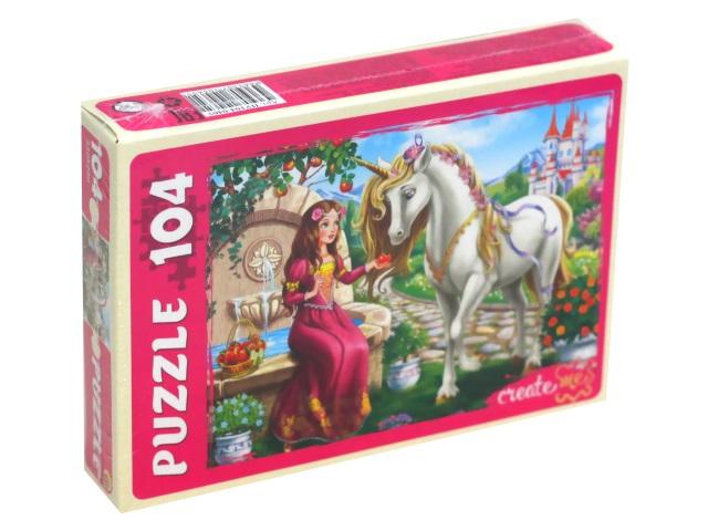 Пазлы  104 детали Рыжий кот Принцесса и волшебный единорог ПУ104-0465