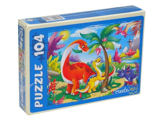 Пазлы  104 детали Рыжий кот Мир динозавров П104-6790