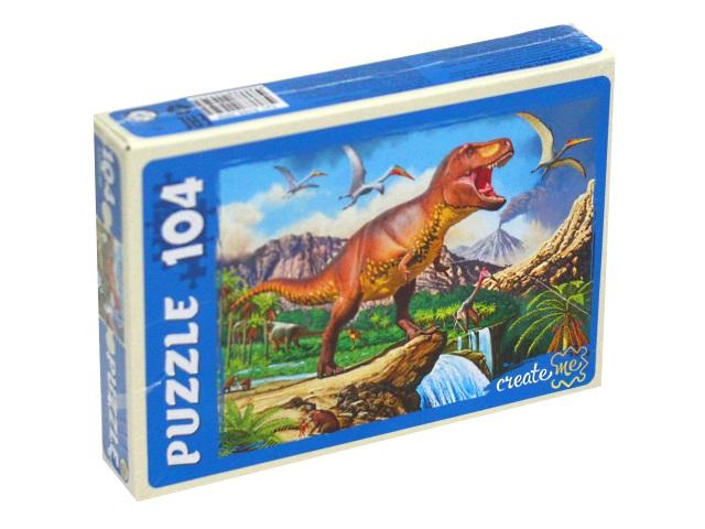 Пазлы  104 детали Рыжий кот Мир динозавров X104-2959