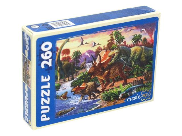 Пазлы  260 деталей Рыжий кот Динозавры у водоема ПУ260-0481