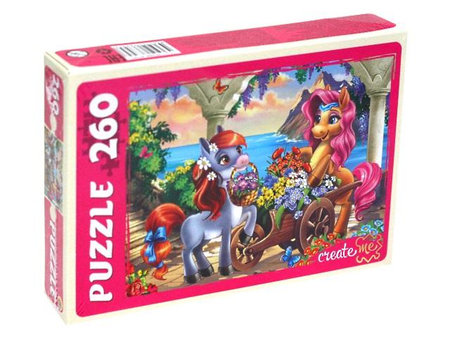 Пазлы  260 деталей Рыжий кот Пони на цветочной трассе П260-6795