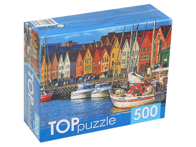 Пазлы  500 деталей TOPpuzzle Яркие домики у воды КБТП500-6806