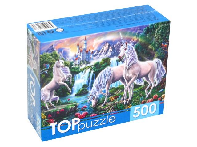Пазлы  500 деталей TOPpuzzle Единороги и замок ХТП500-4237