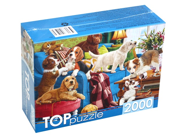 Пазлы 2000 деталей TOPpuzzle Щенки одни дома ХТП2000-1597