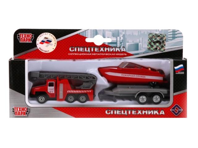 Машина металл Технопарк Пожарная машина Урал с лодкой на прицепе SB-16-32-F-WB