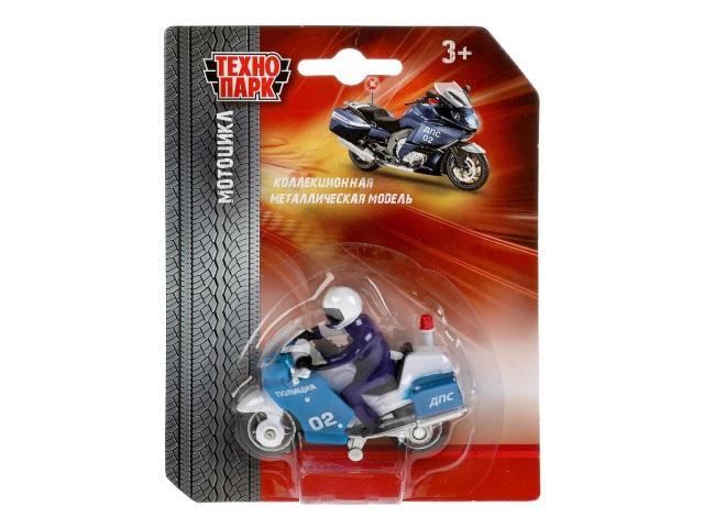 Машина металл Технопарк Мотоцикл Полиция 7см с фигуркой SB-16-02-MO-BLC