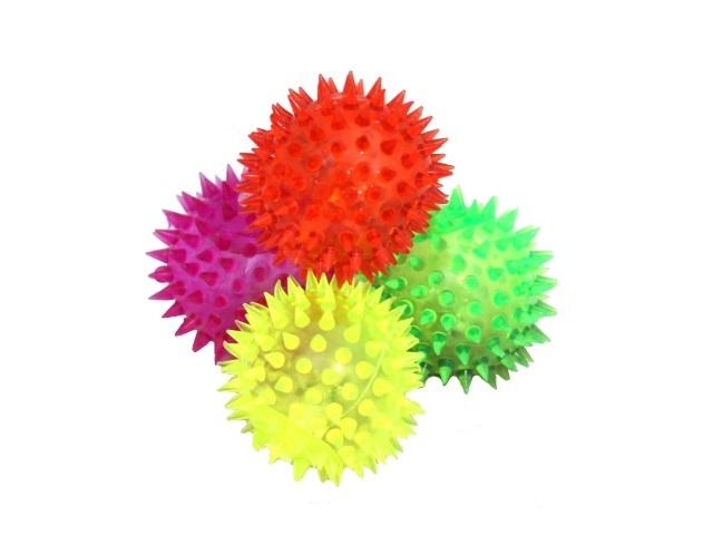 Мяч-пищалка с шипами 6см светящийся цветной 180155-6
