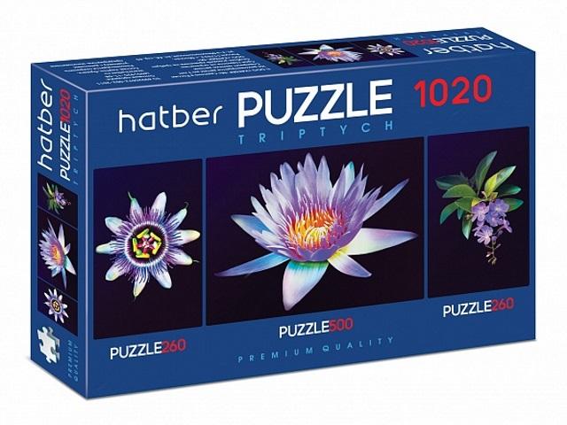 Пазлы комплект 3 в 1 Hatber Душа цветка 1020ПЗ2_20930