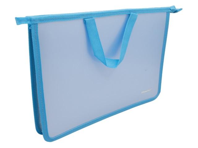 Папка для тетрадей А4 на молнии с ручками Silwerhof Gems голубая 671947