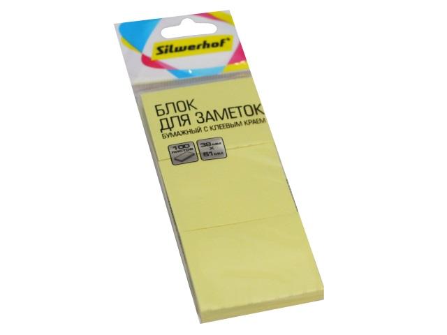Стикер 38* 51мм Silwerhof 300л (3 блока по 100л) желтый 1188261
