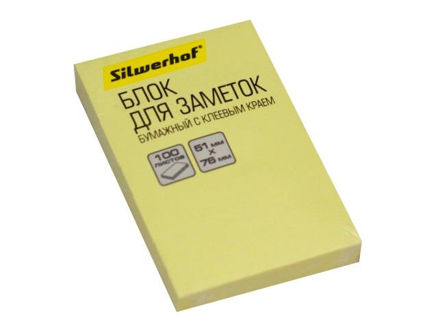 Стикер 51*76мм Silwerhof 100л желтый 1188280