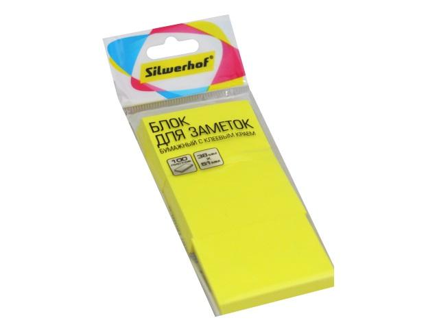 Стикер 38* 51мм Silwerhof 300л (3 блока по 100л) неон желтый 1204458