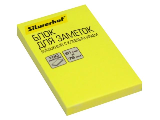 Стикер 51*76мм Silwerhof 100л неон желтый 1204463